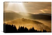 Afternoon rays over church, Canvas Print