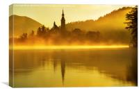 Misty Lake Bled at sunrise, Canvas Print
