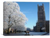 Ely Cathedral in the Snow, Canvas Print