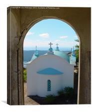 Greek Church through the Arch, Canvas Print