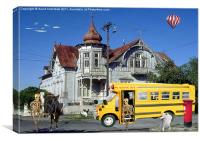 SCHOOL BUS IS LATE, Canvas Print