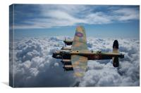 Lancaster Bomber above the clouds, Canvas Print