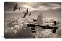 Lancaster Bomber and Spitfire Sepia, Canvas Print