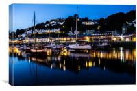 Looe Harbour and yachts, Canvas Print