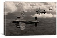 Lancaster Bombers in sepia, Canvas Print