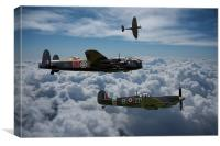 Lancaster with Spitfire escort, Canvas Print