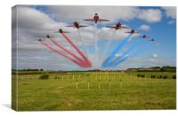 Red Arrows running in at Brize, Canvas Print