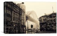 Sepia Fog on the Tyne, Canvas Print