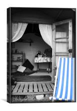 A Home from Home, Vintage View of a Beach Hut, Nor, Canvas Print