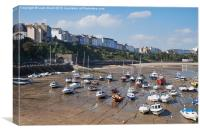 Boats in Tenby Harbour at low tide. Wales, UK., Canvas Print