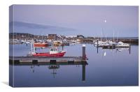 Moon over Burry Port harbour. South Wales, UK., Canvas Print