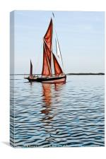 Thames barge reflection 2, Canvas Print