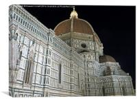 The Duomo Florence at night, Canvas Print
