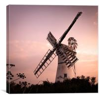 Thurne Windmill at sunset, Canvas Print