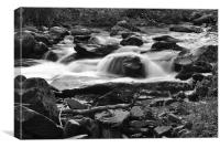 a rocky stream on exmoor b+w, Canvas Print