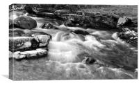 The East Lyn River at Lynmouth, b+w, Canvas Print