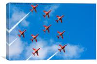 Red Arrows Feather Formation, Canvas Print