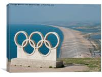 Chesil Beach and Olympic Rings, Canvas Print