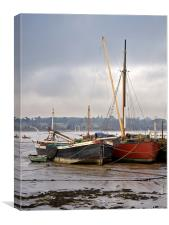 Pin Mill Barges, Canvas Print
