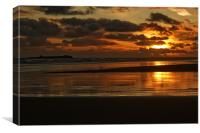 Dawn on Bamburgh beach, Canvas Print