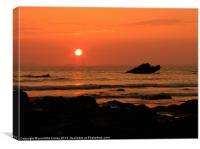 Broadhaven Sunset Rock.Pembrokeshire., Canvas Print