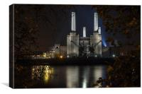 Battersea Power Station, at night, Canvas Print