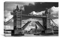 Tower Bridge opens for a sailing barge, Canvas Print