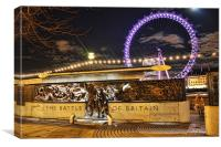 Battle of Britain Monument and London Eye, Canvas Print