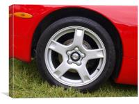 Red Corvette front wheel and wheel arch, Canvas Print