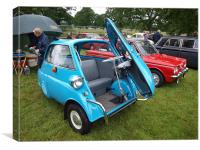 Blue Isetta bubble car, Canvas Print