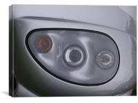 Silver sports car headlight, Canvas Print