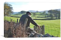 Famer entering field in Yorkshire Dales, Canvas Print