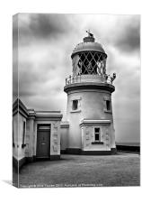 Pendeen Lighthouse Black and White, Canvas Print