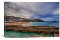 Portreath Harbour and Beach, Canvas Print