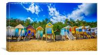Coloured Beach Huts , Canvas Print