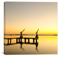 Sunrise at the boat dock, Canvas Print
