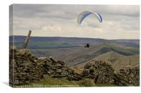 Paraglider over Rushup Edge, Canvas Print