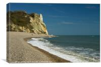 Sea and sun near Branscombe, Canvas Print