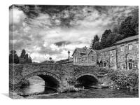 Beddgelert Village - B&W, Canvas Print