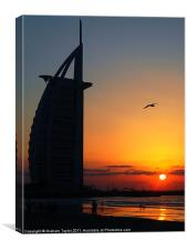 Sunset at the Burj Al Arab, Canvas Print