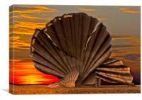 Scallop Sunrise at Aldeburgh, Canvas Print
