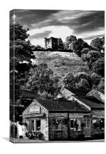 The Three Roofs Cafe Castleton, Canvas Print