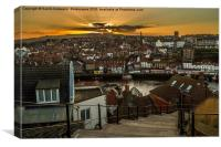 Whitby Sunset On The 199 Steps., Canvas Print