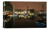 St Katherine Dock at Night, Canvas Print