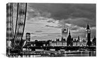 Westminster, black and white, Canvas Print