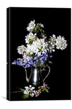 Bluebells and Apple Blossom with Pink Buds, Canvas Print