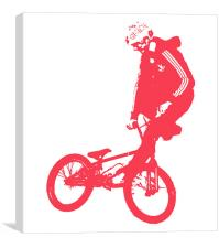 BMX Red on White, Canvas Print