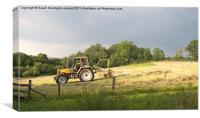 Hay making in Wales, Canvas Print