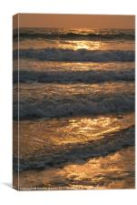 Waves Rolling in at Sunset Benaulim, Goa, India, Canvas Print