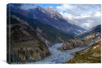 River and Clouds near Manang, Canvas Print